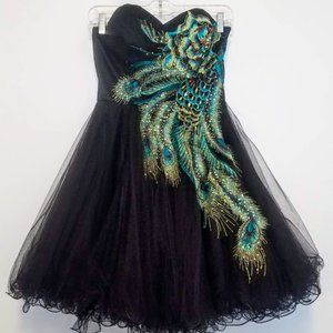 Fiesta Peacock Embroidered Party Prom Dress Sz S